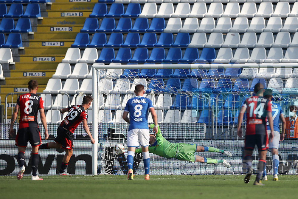 Genoa's Italian striker Andrea Pinamonti scores from the penalty mark to level the scores at 2-2 during the Serie A match at Stadio Mario Rigamonti, Brescia. Picture date: 27th June 2020. Picture credit should read: Jonathan Moscrop/Sportimage