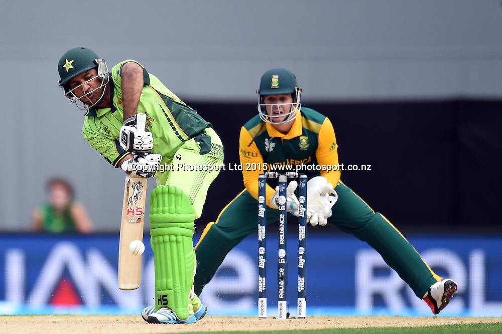 Pakistan batsman Sarfaraz Ahmad in action during the ICC Cricket World Cup match between Pakistan and South Africa at Eden Park in Auckland, New Zealand. Saturday 07 March 2015. Copyright Photo: Raghavan Venugopal / www.photosport.co.nz