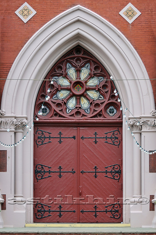 Lancet Arch with tracery window.