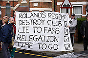 Charlton fans protest against owner Roland Duchâtelet during the Sky Bet Championship match between Charlton Athletic and Brighton and Hove Albion at The Valley, London, England on 23 April 2016. Photo by David Charbit.