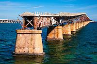 US, Florida Keys. Old and new Bahia Honda Bridge seen from Scout Key.