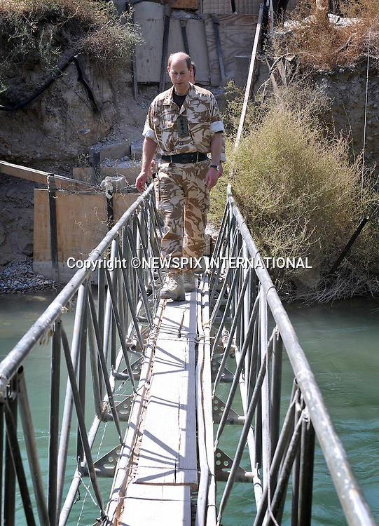 """PRINCE EDWARD.walking across the footbridge in the confines of Sangin Main operating Base, the footbridge crosses the Helmand River which divides the camp in two..The Regimental Colonel for the Rifles Regiment, HRH The Earl of Wessex paid a visit to the soldiers of 2 Rifles Battle group in the front line in Helmand province. Prince Edward spent time talking to the soldiers , who have spent the last 5 months bringing security to the town of Sangin and the upper Sangin valley_9/09/2009.Photo Credit: ©Wood_Newspix International..**ALL FEES PAYABLE TO: """"NEWSPIX INTERNATIONAL""""**..PHOTO CREDIT MANDATORY!!: NEWSPIX INTERNATIONAL..IMMEDIATE CONFIRMATION OF USAGE REQUIRED:.Newspix International, 31 Chinnery Hill, Bishop's Stortford, ENGLAND CM23 3PS.Tel:+441279 324672  ; Fax: +441279656877.Mobile:  0777568 1153.e-mail: info@newspixinternational.co.uk"""