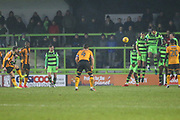 Cambridge United's Adam Phillpis(17) hits a free kick into the wall during the EFL Sky Bet League 2 match between Forest Green Rovers and Cambridge United at the New Lawn, Forest Green, United Kingdom on 20 January 2018. Photo by Shane Healey.