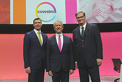 Germany, Bonn  -  April 13, 2018.Annual press conference of  Covestro AG  .From left Markus Steilemann, Patrick Thomas and Richard Pott (Credit Image: © Sepp Spiegel/Ropi via ZUMA Press)