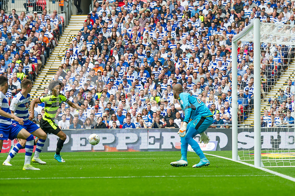 Isaiah Brown of Huddersfield Town misses a chance during the EFL Sky Bet Championship Play-Off Final match between Huddersfield Town and Reading at Wembley Stadium, London, England on 29 May 2017. Photo by Salvio Calabrese.