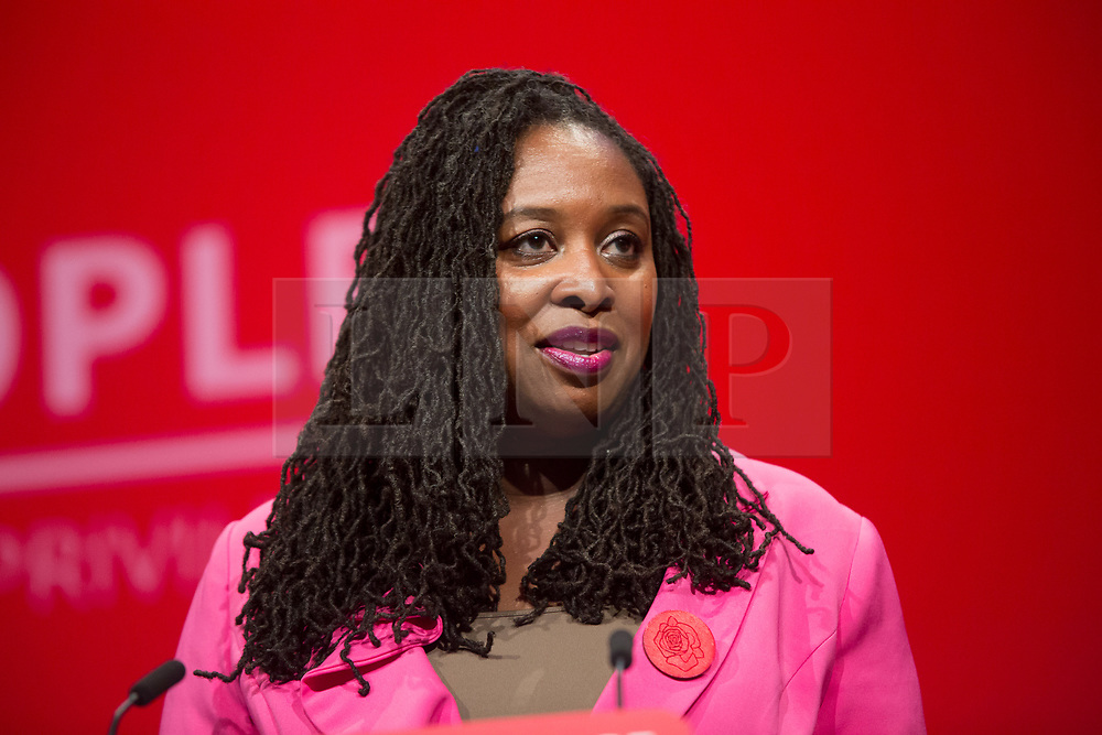 @Licensed to London News Pictures 21/09/2019. Brighton, UK. Dawn Butler Shadow Women's & Equalities Secretary addresses the party faithful on the first day of the Labour Party Conference in Brighton today. Photo credit: Manu Palomeque/LNP