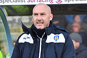 Colchester United manager John McGreal during the EFL Sky Bet League 2 match between Scunthorpe United and Colchester United at Glanford Park, Scunthorpe, England on 14 December 2019.