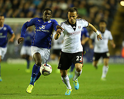Leicester City's Jeffrey Schlupp and Fulham's Elsad Zverotic battle for the ball - Photo mandatory by-line: Matt Bunn/JMP - Tel: Mobile: 07966 386802 29/10/2013 - SPORT - FOOTBALL - King Power Stadium - Leicester City - Leicester City v Fulham - Capital One Cup - Forth Round