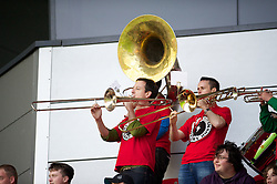 LLANELLI, WALES - Wednesday, August 15, 2012: Wales supporter's band the Barry Horns during the international friendly match against Bosnia-Herzegovina at Parc y Scarlets. (Pic by David Rawcliffe/Propaganda)