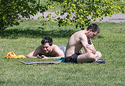 © Licensed to London News Pictures. 20/04/2020. London, UK. People sunbathing in Primrose Hill, north London during a pandemic outbreak of the Coronavirus COVID-19 disease. The public have been told they can only leave their homes when absolutely essential, in an attempt to fight the spread of coronavirus COVID-19 disease. Photo credit: Ben Cawthra/LNP. Photo credit: Ben Cawthra/LNP