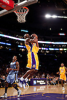 06 November 2009: Guard Kobe Bryant of the Los Angeles Lakers jumps to dunk the ball against the Memphis Grizzles during the second half of the Lakers 114-98 victory over the Grizzles at the STAPLES Center in Los Angeles, CA.