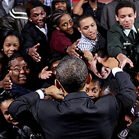 (030811  Boston, MA) President Barack Obama greets students after speaking at TechBoston Academy in Dorchester, Tuesday,  March 08, 2011.  Staff photo by Angela Rowlings.