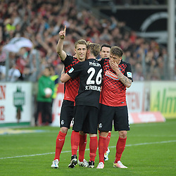 22.04.2016, Schwarzwald Stadion, Freiburg, GER, 2. FBL, SC Freiburg vs MSV Duisburg, 31. Runde, im Bild Jubel bei (v.l.n.r.) Nils Petersen (SC Freiburg) Maximilian Philipp (SC Freiburg) Mike Frantz (SC Freiburg) // during the 2nd German Bundesliga 31th round match between SC Freiburg and MSV Duisburg at the Schwarzwald Stadion in Freiburg, Germany on 2016/04/22. EXPA Pictures &copy; 2016, PhotoCredit: EXPA/ Eibner-Pressefoto/ Laegler<br /> <br /> *****ATTENTION - OUT of GER*****
