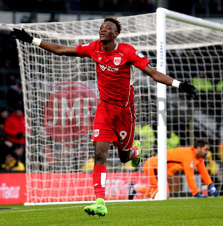 Tammy Abraham of Bristol City celebrates scoring a goal to make it 3-0 - Mandatory by-line: Robbie Stephenson/JMP - 11/02/2017 - FOOTBALL - iPro Stadium - Derby, England - Derby County v Bristol City - Sky Bet Championship