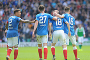 Goal scorer Jordan Rossiter gets a pat on the head during the Ladbrokes Scottish Premiership match between Hibernian and Rangers at Easter Road, Edinburgh, Scotland on 13 May 2018. Picture by Kevin Murray.