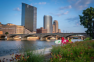 Stand up paddling on the Grand River in downtown Grand Rapids, Michigan.