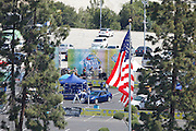 LOS ANGELES, CA - MAY 27:  An American flag flies over the stadium while a Hispanic band plays in the parking lot while entertaining fans before the Los Angeles Dodgers game against the Houston Astros on Sunday, May 27, 2012 at Dodger Stadium in Los Angeles, California. The Dodgers won the game 5-1. (Photo by Paul Spinelli/MLB Photos via Getty Images)