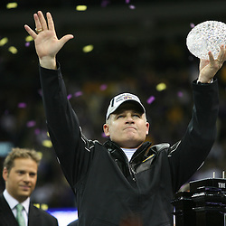 07 January 2008: LSU head coach Les Miles holds up the crystal football from the Coaches Trophy following the 2008 All State BCS Championship game a 38-24 win by the LSU Tigers over the Ohio State Buckeyes at the Louisiana Superdome in New Orleans, Louisiana.