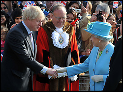 The London Mayor Boris Johnson Meets the HM The Queen and the Duke of Edinburgh on their visit Valentines Park in the Borough of Redbridge,London, as part of her Diamond Jubilee, Thursday March 29,2012. Photo By Andrew Parsons/i-Images