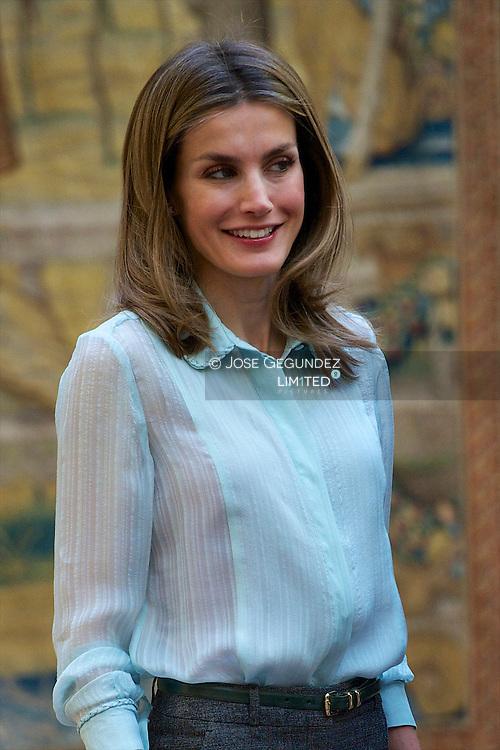 Prince Felipe of Spain and Princess Letizia of Spain receive members of 'Principe de Asturias' Foundation at El Pardo Palace in Madrid, Spain
