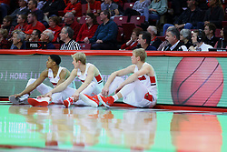 22 November 2017:  William Tinsley, Isaac Gassman, and Taylor Bruninga during a College mens basketball game between the Quincy Hawks and Illinois State Redbirds in  Redbird Arena, Normal IL