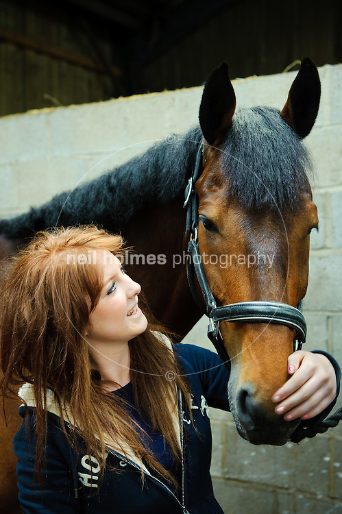Willerby Hill Competition Yard, Willerby, East Yorkshire, Run by husband and wife team Ian and Debbie Leak with their two daughters Natasha and Olivia. Pictured Natasha with one of her competition horses Varush