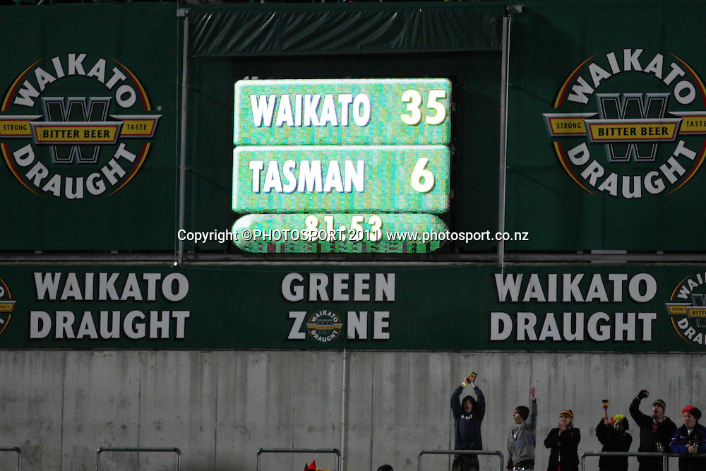 Full Time 35-6 to Waikato Round 5 ITM cup Rugby match, Waikato v Tasman, at Waikato Stadium, Hamilton, New Zealand, Friday 29 July 2011. Photo: Dion Mellow/photosport.co.nz