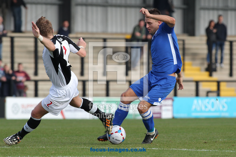 Jake Reed of Lowestoft Town about to score against Hednesford Town, during the National League North match at Keys Park, Hednesford.<br /> Picture by Michael Sedgwick/Focus Images Ltd +44 7900 363072<br /> 03/10/2015