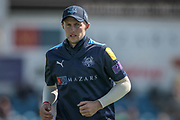 Joe Root (Yorkshire CCC) runs to take up position in deep field during the Royal London 1 Day Cup match between Yorkshire County Cricket Club and Durham County Cricket Club at Headingley Stadium, Headingley, United Kingdom on 3 May 2017. Photo by Mark P Doherty.