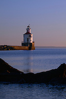 WI00178-00...WISCONSIN - Sunrise at Wisconsin Point Lighthouse on Lake Superior near the town of Superior.