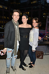 Left to right, NICK GRIMSHAW, GIZZI ERSKINE and JAIME WINSTONE at the launch of Broadgate Circle, City of London on 9th June 2015.