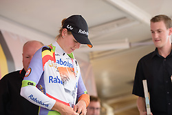 Thalita de Jong (Rabo Liv) earns the best young rider jersey at the 4.4 km Prologue of the Lotto Belgium Tour 2016 on 6th September 2016 in Nieuwpoort, Belgium. (Photo by Sean Robinson/Velofocus).