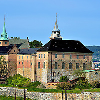 View of Akershus Fortress from Oslo Fjord in Oslo, Norway <br />