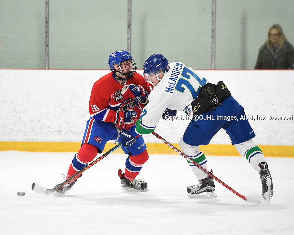 BURLINGTON, - Mar 2, 2016 -  Ontario Junior Hockey League game action between Burlington Cougars and the Toronto Junior Canadians. Game 1 of the first round playoff series at the Appleby Ice Centre, ON. Gianfranco Cassaro #16 of the Toronto Jr. Canadiens keeps the puck from Griffin James #27 of the Burlington Cougars during the first period.<br /> (Photo by Andy Corneau / OJHL Images)