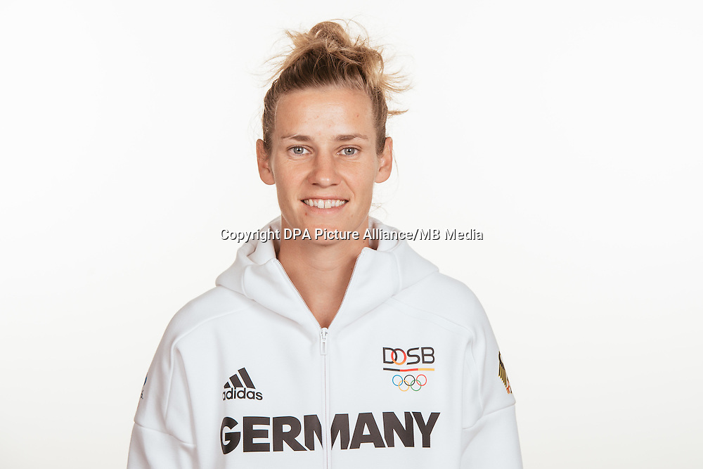 Simone Laudehr poses at a photocall during the preparations for the Olympic Games in Rio at the Emmich Cambrai Barracks in Hanover, Germany, taken on 15/07/16 | usage worldwide