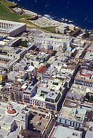 Aerial view of Old San Juan between San José and Cristo streets