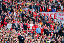 Liverpool Manager Brendan Rodgers cuts a frustrated figure in front of the Liverpool supporters in the stands - Photo mandatory by-line: Rogan Thomson/JMP - 07966 386802 - 19/04/2015 - SPORT - FOOTBALL - London, England - Wembley Stadium - Aston Villa v Liverpool - FA Cup Semi Final.