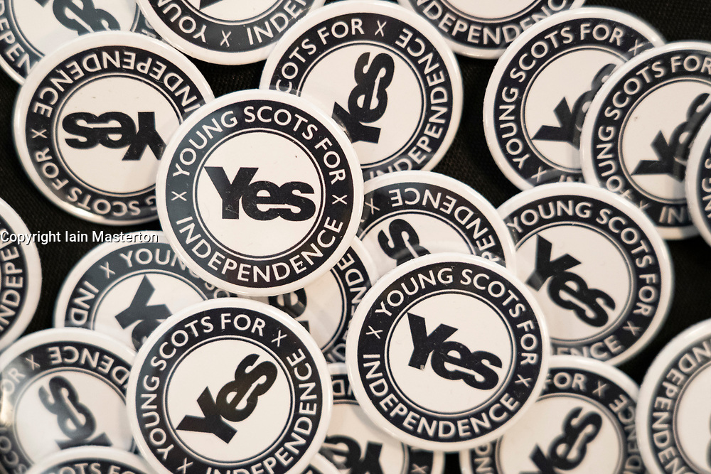 Edinburgh, Scotland, UK. 27 April, 2019. SNP ( Scottish National Party) Spring Conference takes place at the EICC ( Edinburgh International Conference Centre) in Edinburgh. Pictured; Detail of pro independence Yes badges at the conference