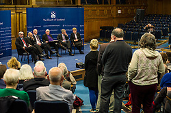 Pictured:  A long queue formed to ask questions of the panel<br /> <br /> The People Politics Hustings,  organised by the Church of Scotland, allowed voters to question SNP deputy John Swinney, Scottish Labour leader Kezia Dugdale, Scottish Liberal Democrat leader Willie Rennie, Scottish Greens co-convener Patrick Harvie and former Scottish Conservatives leader Annabel Goldie ahead of the Scottish Elections. Before the politicians had a chance to speak they had a chance to listen to five speakers with different viewpoints on how Scotland has supported them in the past and how it should support them in the future..<br /> Ger Harley | EEm 4 April 2016