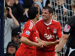 Liverpool team mates Jamie Carragher and Alvaro Arbeloa clash at The Hawthorns, West Bromwich Albion v Liverpool Premier League 17/05/09.