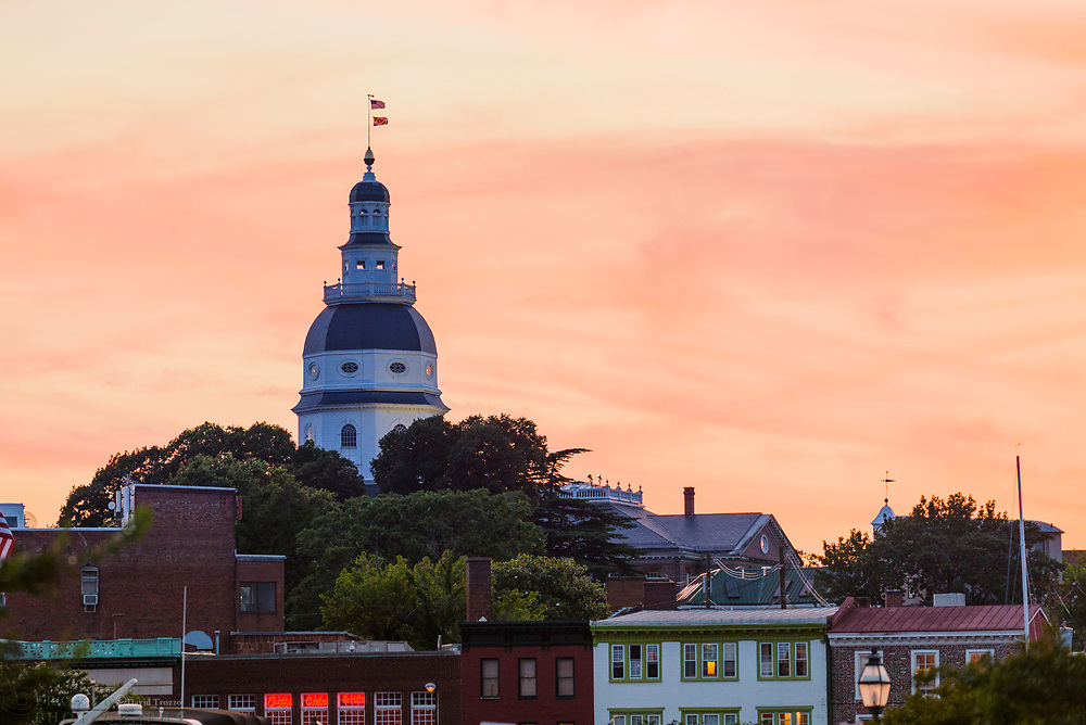 The Maryland State House and downtown historic Annapolis, Mayland USA, at sunset.