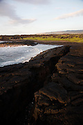 Ninole Cove, black sand beach, Ka'ie'ie Heiau , Punaluu, Kau, The Big Island of Hawaii