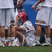 University of Maryland Goalkeeper KYLE BERNLOHR (35) is emotional after University of Maryland falls in overtime during The NCAA Division I NATIONAL CHAMPIONSHIP GAME to North Carolina 14-13, Monday, May. 30, 2016 at Lincoln Financial Field in Philadelphia, Pa.