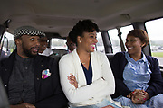 "Norman Garrett, Meroë Khalia Adeeb, and Talise Trevigne, laugh as they wait to be transported inside Attica Correctional Facility in Attica, New York on Tuesday, July 25, 2017. The Glimmerglass Festival, an opera company in Cooperstown, New York, performed songs from George Gershwin's ""Porgy and Bess"" for inmates."