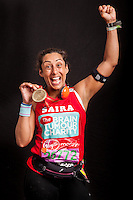 Businesswoman and TV presenter Saira Khan (ex The Apprentice). Portraits of celebrities shortly after they have crossed the line to finish the Virgin Money London Marathon 2014 at the finish line on Sunday 13 April 2014<br /> Photo: Dillon Bryden/Virgin Money London Marathon<br /> media@london-marathon.co.uk