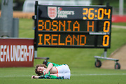 Luca John Connell of Republic of Ireland (18) goes down injured during the UEFA European Under 17 Championship 2018 match between Bosnia and Republic of Ireland at Stadion Bilino Polje, Zenica, Bosnia and Herzegovina on 11 May 2018. Picture by Mick Haynes.