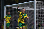 Jonny Howson scores for Norwich during the Sky Bet Championship match between Norwich City and Brighton and Hove Albion at Carrow Road, Norwich, England on 22 November 2014.