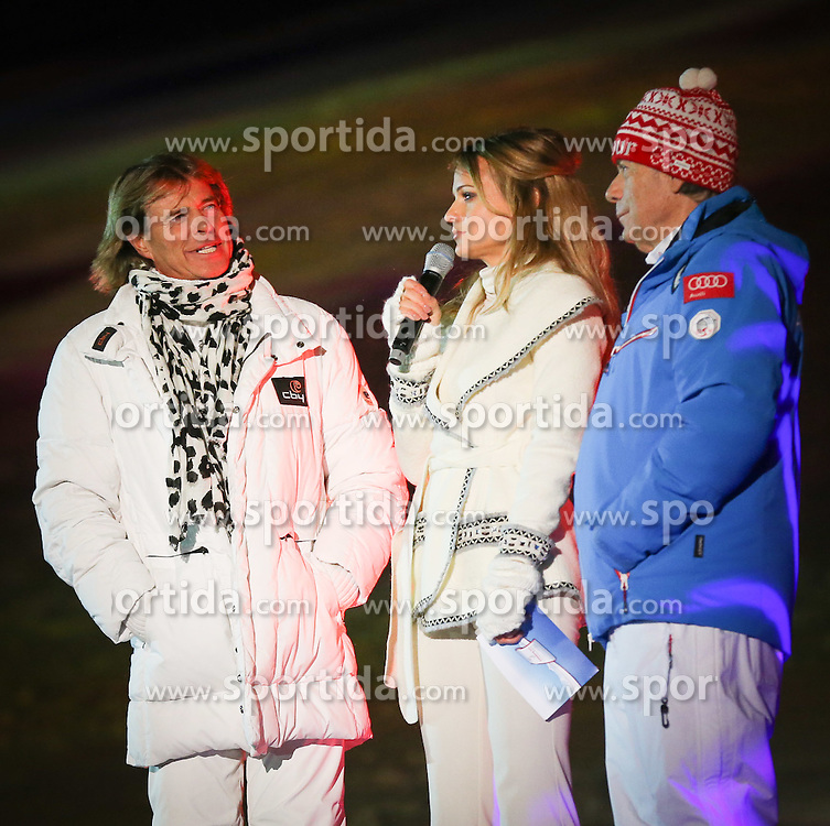 04.02.2013, Planai Zielstadion, Schladming, AUT, FIS Weltmeisterschaften Ski Alpin, Eroeffnungsfeier, im Bild Hansi Hinterseer, Moderatorin Mirjam Weichselbraun, OesV Praesident Peter Schroecksnadel // Hansi Hinterseer, Moderatorin Mirjam Weichselbraun, OesV Praesident Peter Schroecksnade at the Opening ceremony of the FIS Ski World Championships 2013 at the Planai Stadium, Schladming, Austria on 2013/02/04. EXPA Pictures © 2013, PhotoCredit: EXPA/ Johann Groder