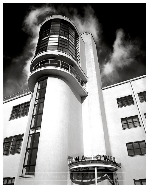 Black and white photograph of The Luma Tower building in Glasgow. Mounted print available to purchase.
