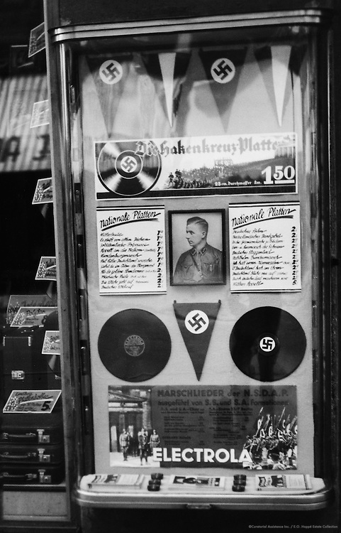 Record Shop Window Advertising Nazi Music Including Marches, Munich, 1933